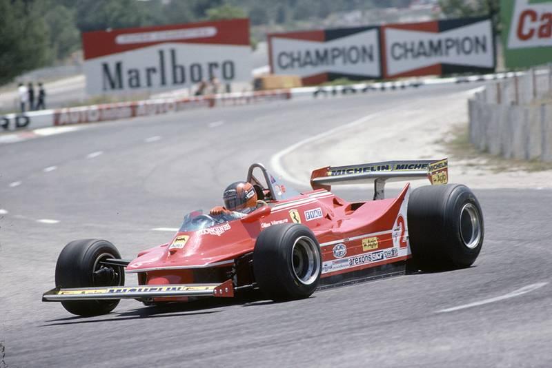 Gilles Villeneuve in a Ferrari 312T5.