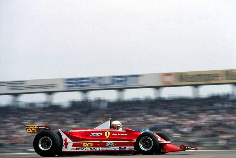 Jody Scheckter at the wheel of a Ferrari 312T-5.