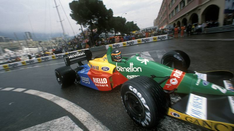 Thierry Boutsen in a Benetton Ford at the 1988 Monaco Grand Prix