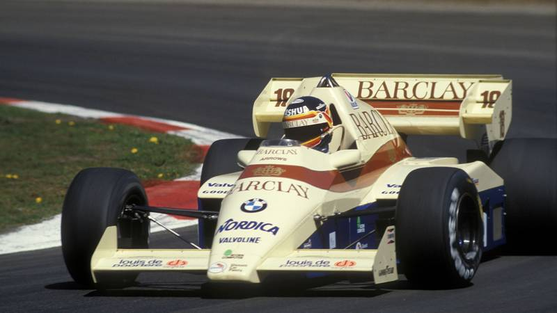 Thierry Boutsen in an Arrows BMW during the 1984 Belgian Grand Prix at Zolder
