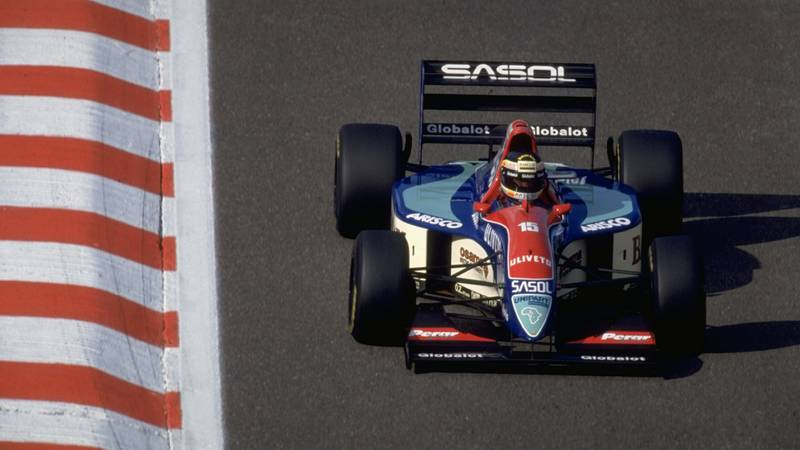 Thierry Boutsen in his final Grand Prix for Jordan at Spa Francorchamps during the 1993 Belgian GP