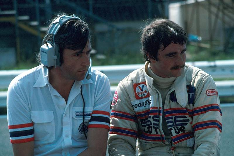 Wright (left) and Nigel Mansell, his Grand Prix debut.