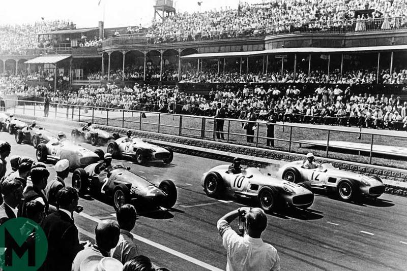 Juan Manuel Fangio and Stirling Moss get off to a roaring start at the 1955 British Grand Prix