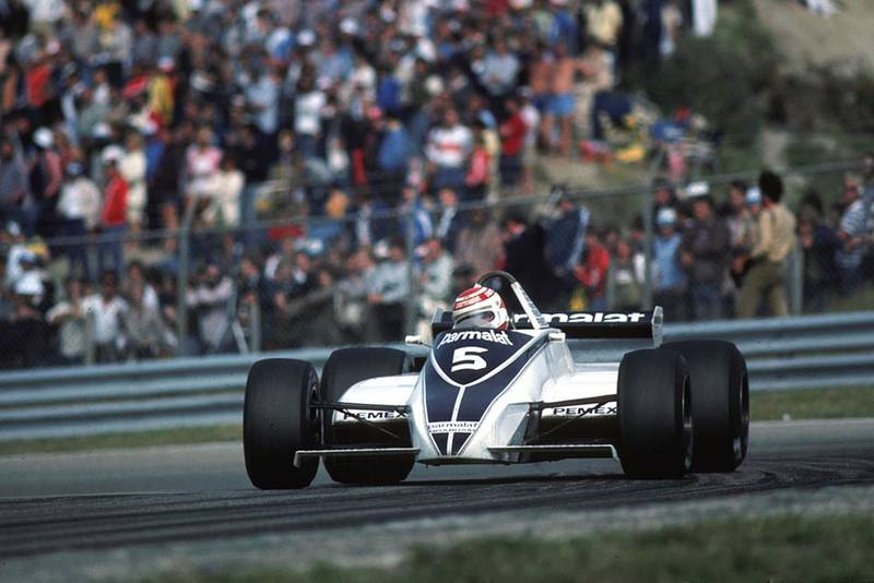 Nelson Piquet in his Brabham BT49C on his way to finishing second.