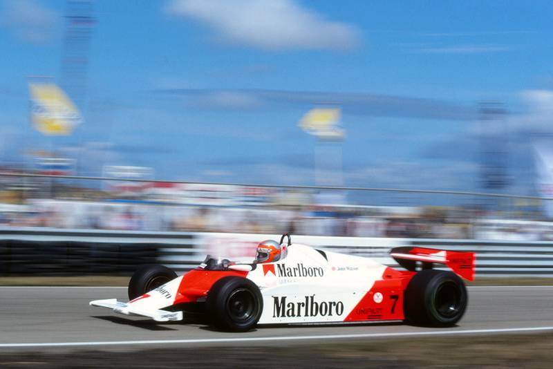 John Watson in his McLaren MP4, lost fourth place when an electrical short between a high-tension lead and a water pipe caused him to stop.