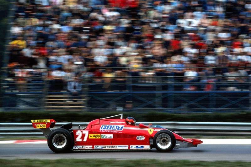 Gilles Villeneuve in a Ferrari 126CK, ground to a halt early in the race with a blown turbo.
