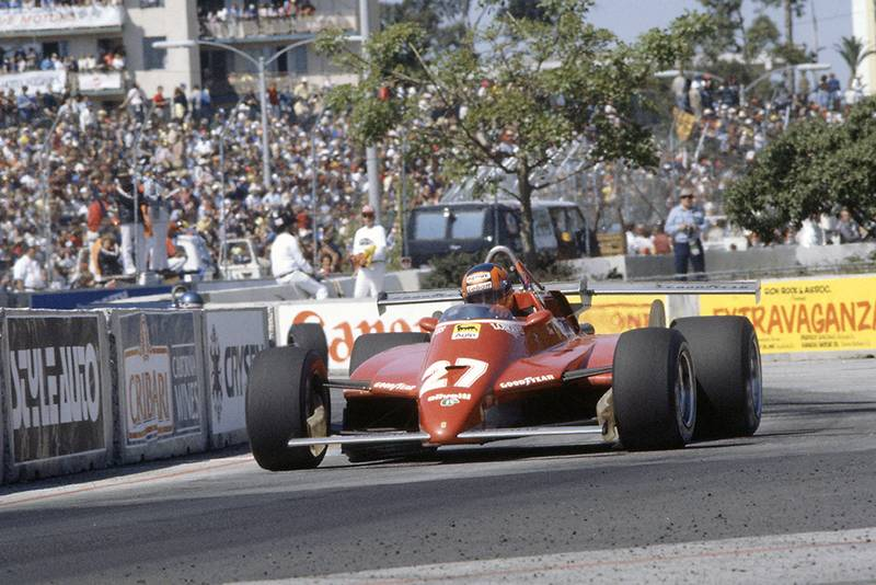 Gilles Villeneuve in his Ferrari 126C2) was disqualified for an illegal rear wing.