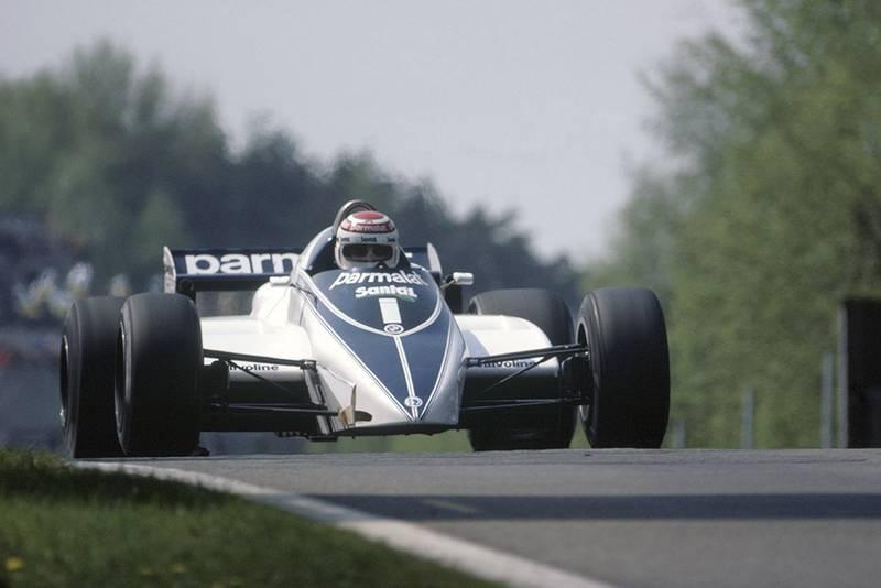 Nelson Piquet at the wheel of a Brabham BT50-BMW.
