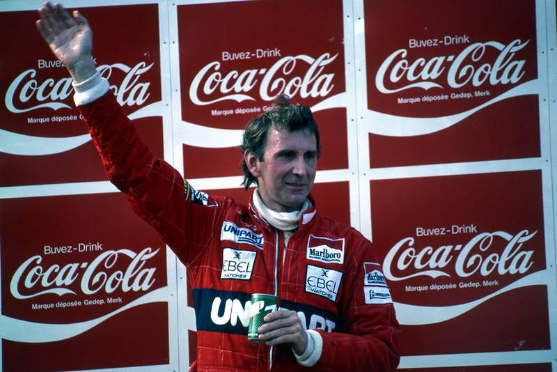 Race winner John Watson on the podium.
