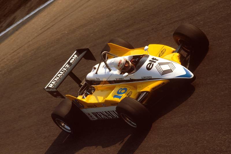 Rene Arnoux in his Renault RE30B.
