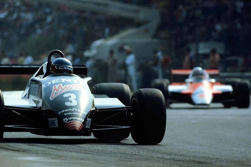 Michele Alboreto in his Tyrrell Ford behind race winner, Rene Arnoux.