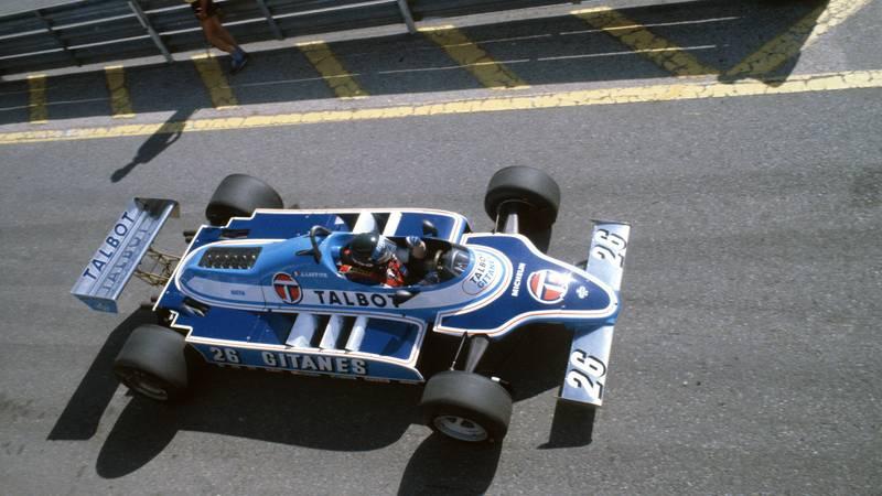 Jacques Laffite's Talbot Ligier Matra ahead of the 1981 Spanish Grand Prix at Jarama