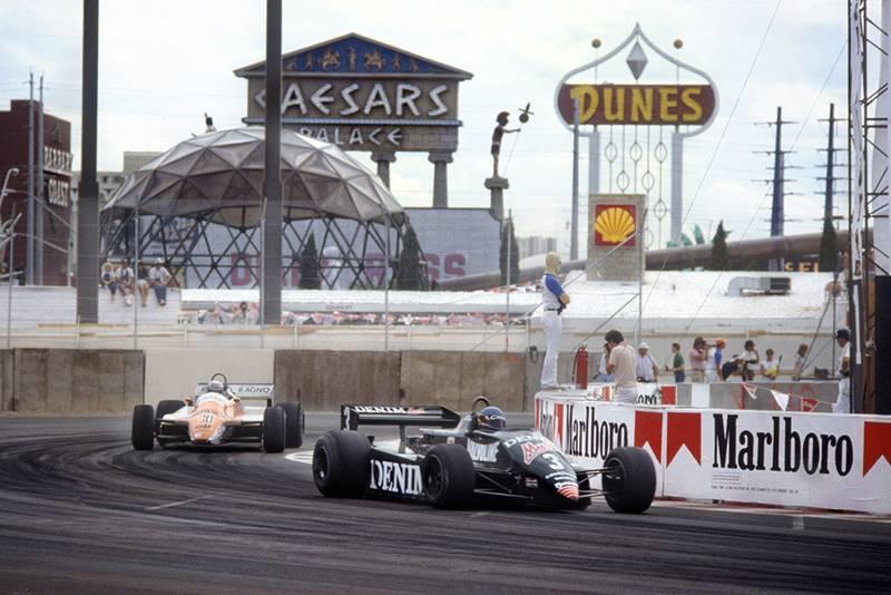 Michele Alboreto in a Tyrrell 011-Ford leads Mauro Baldi in an Arrows A4-Ford.