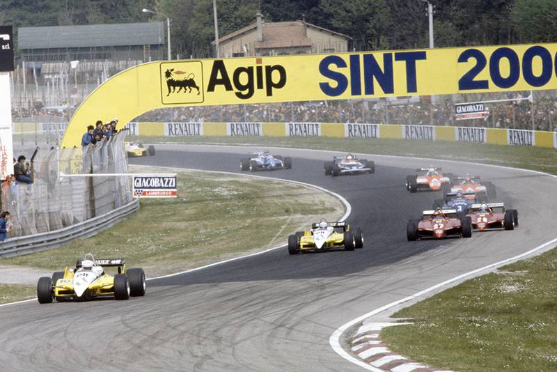 Rene Arnoux leads Alain Prost (both Renault RE30B), Gilles Villeneuve, Didier Pironi (both Ferrari 126C2), Michele Alboreto (Tyrrell 011-Ford Cosworth), Bruno Giacomelli, Andrea de Cesaris (both Alfa Romeo 182), Teo Fabi (Toleman TG181C-Hart), Jean-Pierre Jarier (Osella FA1C-Ford Cosworth) and Eliseo Salazar (ATS D5-Ford Cosworth).