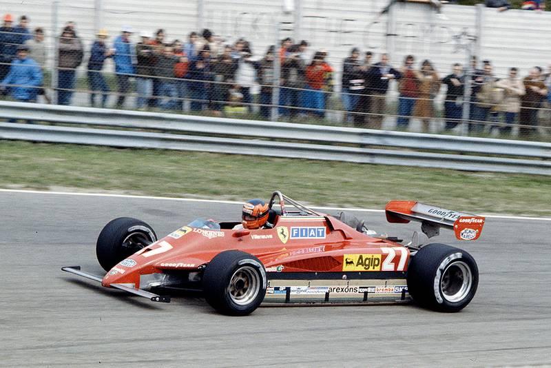 Gilles Villeneuve in his Ferrari 126C2.