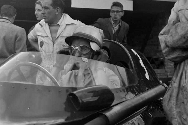 Vanwall driver Stuart Lewis-Evans, int he cockpit.