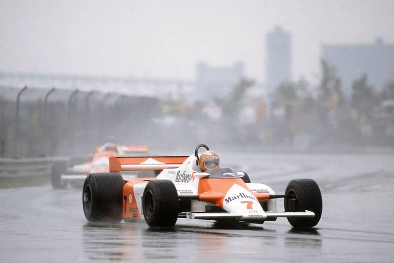 John Watson in a McLaren MP4/1-Ford Cosworthleads Mario Andretti in his Alfa Romeo 179.