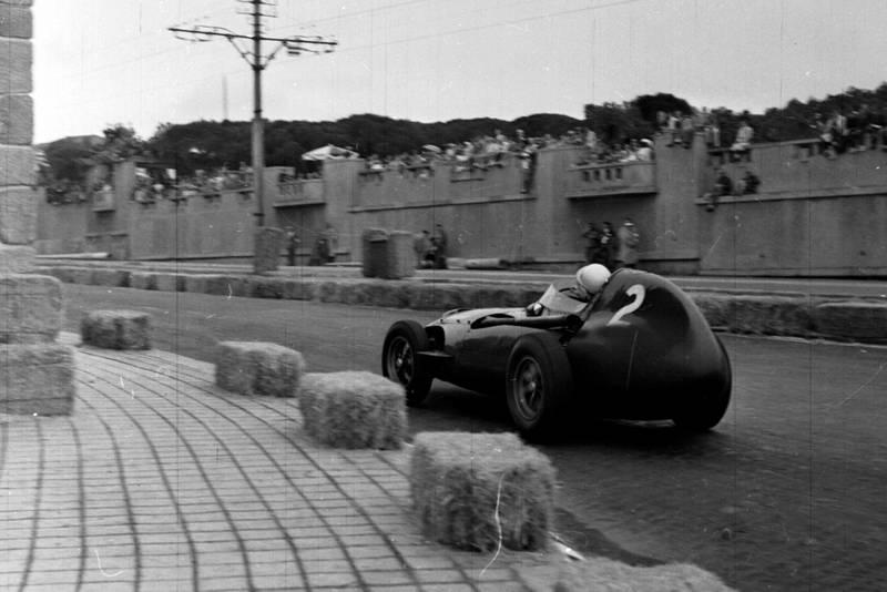 Stirling Moss piloting his Vanwall.