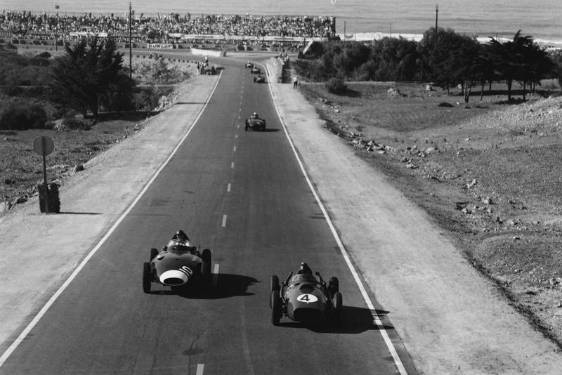 Phil Hill in his BRM 25 leads Tony Brooks in a a Vanwall VW10.