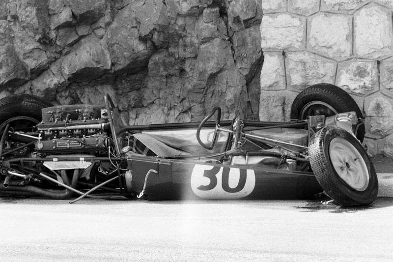 Innes Ireland's crashed Lotus. The accident in practice left him with two broken legs and he didnt start the race.