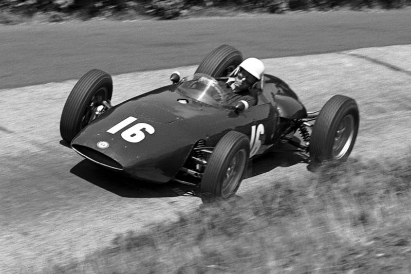Tony Brooks in a BRM P48/57, he later retired with engine failure.