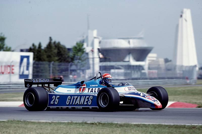 Eddie Cheever at the wheel of his Ligier JS17B Matra.