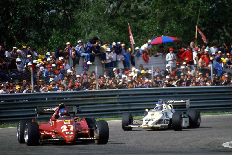 Race winner Patrick Tambay leads Keke Rosberg's Williams FW08C.