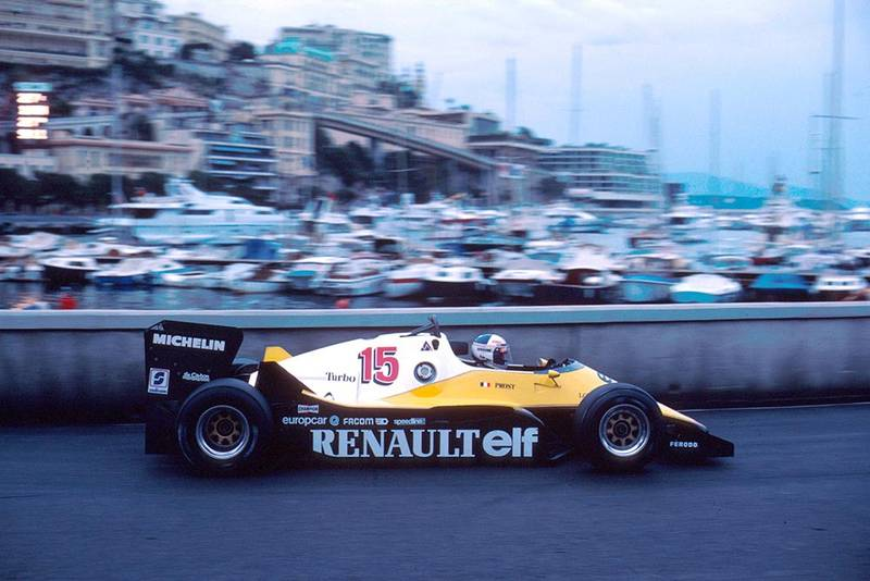 Alain Prost in his Renault RE40.