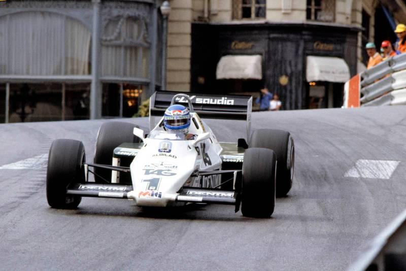 Race winner Keke Rosberg in his Williams FW08C-Ford Cosworth.