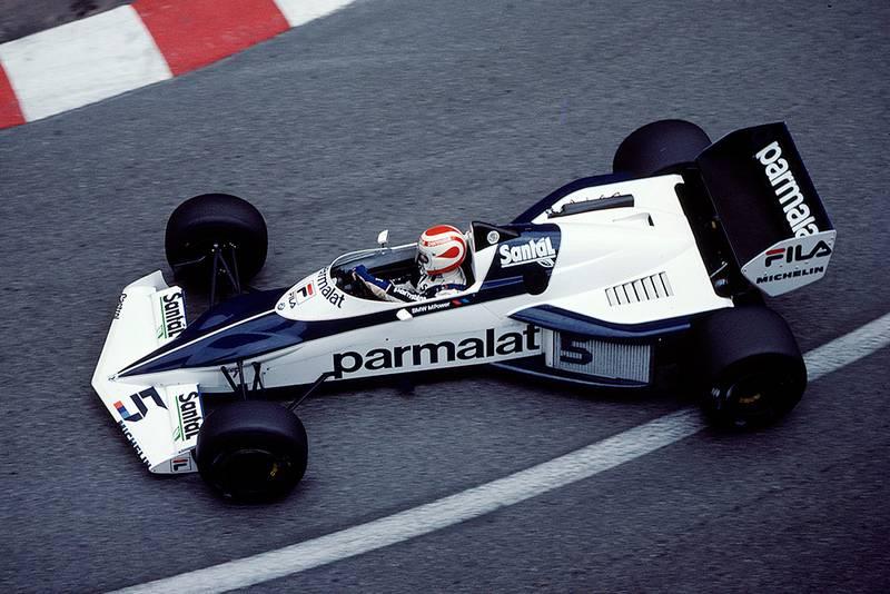 Nelson Piquet cornering in his Brabham BT52 BMW.