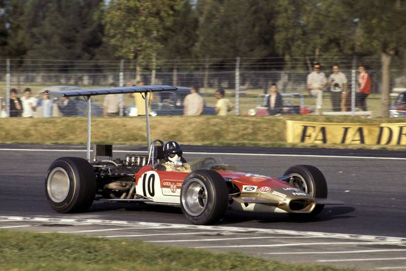 Lotus driver Graham Hill on his way to victory at the 1968 Mexican Grand Prix