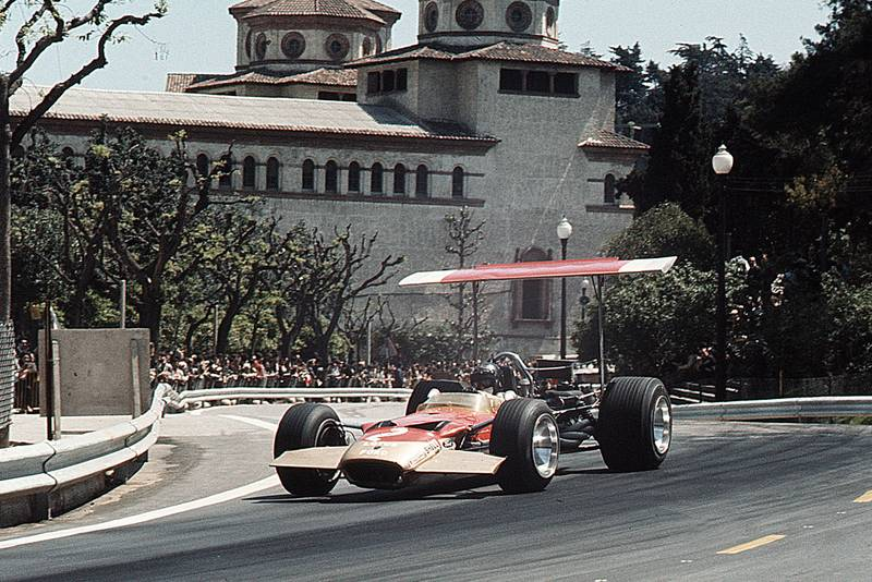 Jochen Rindt in his Lotus-Ford at the 1969 Spanish