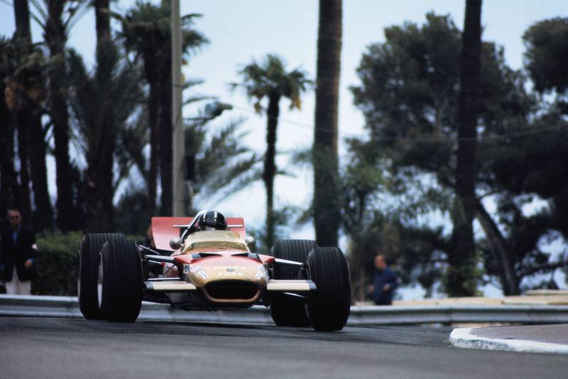 Graham Hill driving for Lotus at the 1969 Monaco Grand Prix.
