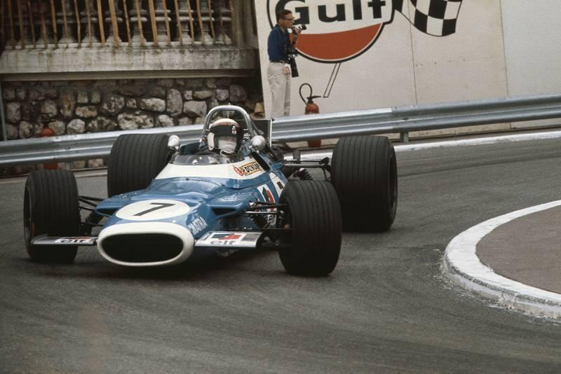 Jackie Stewart driving his Matra around Loews hairpin at the 1969 Monaco Grand Prix.