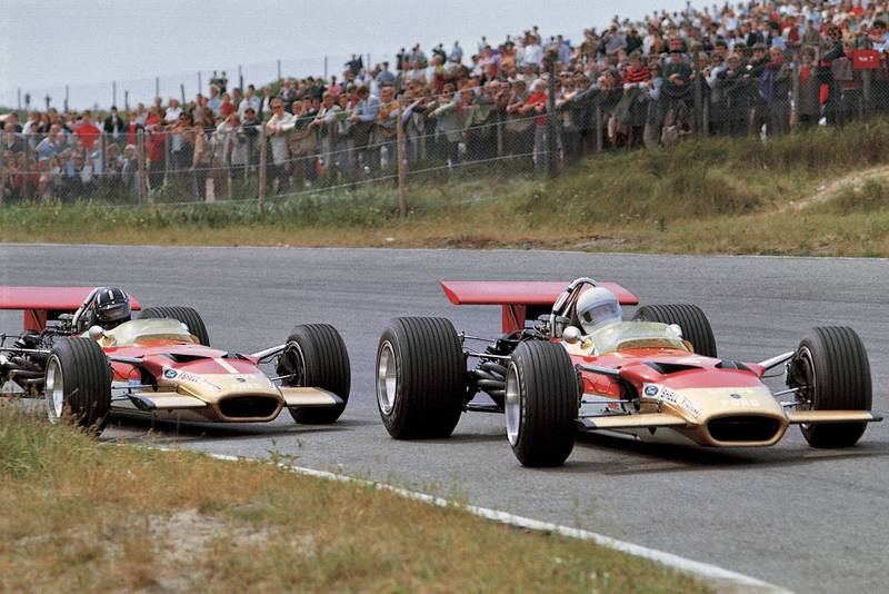 Graham Hill chases Lotus team-mate Jochen Rindt.