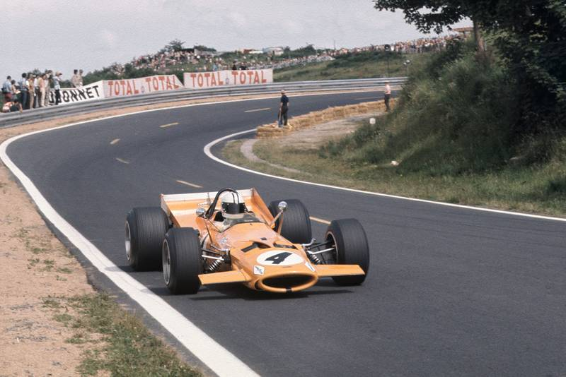 Denny Hulme in his McLaren at the 1969 French Grand Prix.