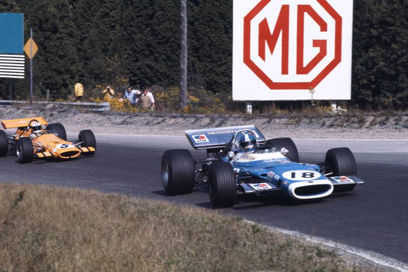 Jean-Pierre Beltoise takes a corner in his matra at the 1969 Canadian Grand Prix