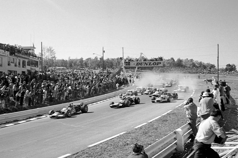 The cars pull away at the 1969 United States Grand Prix