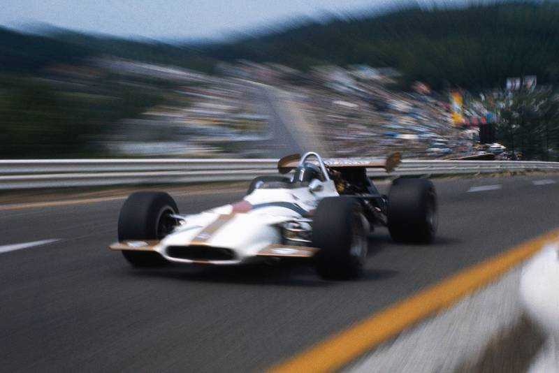 BRM's Pedro Rodriguez climbs through Raidillon.