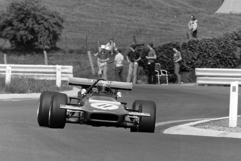 Jackie Stewart drives Spa-Francorchamps in his Tyrrell