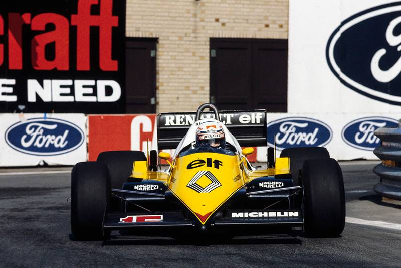 Alain Prost driving his Renault RE40.