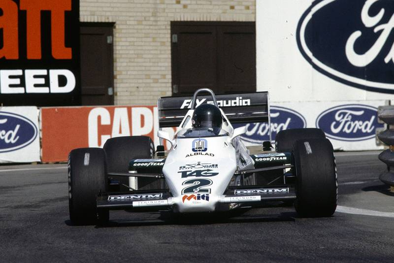 Jacques Laffite in his Williams FW08C Ford.