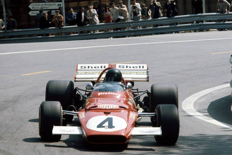 Jacky Ickx driving for Ferrari at the 1971 Spanish Grand Prix.