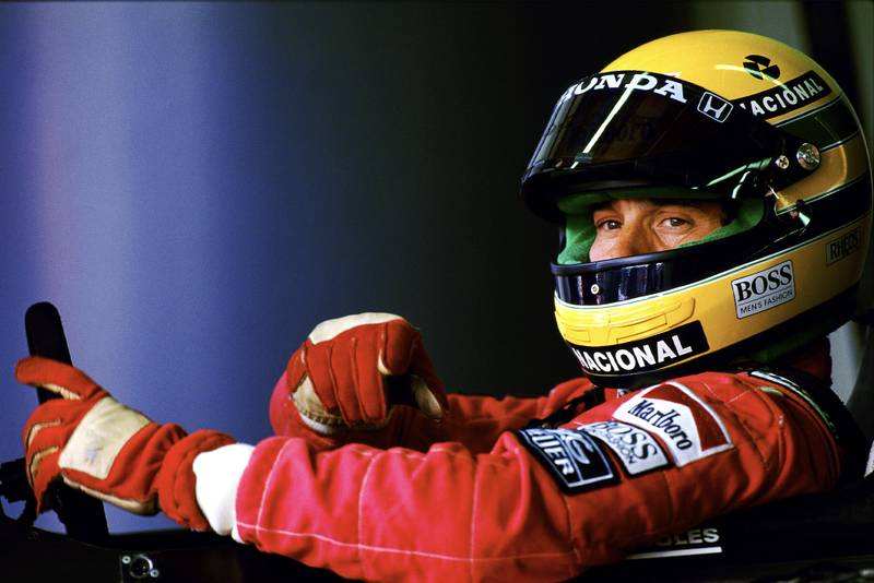 Ayrton Senna sits in his McLaren