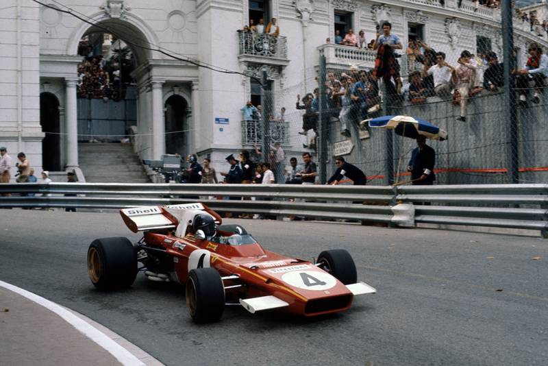 Jacky Ickx driving at the 1971 Monaco Grand Prix for Ferrari