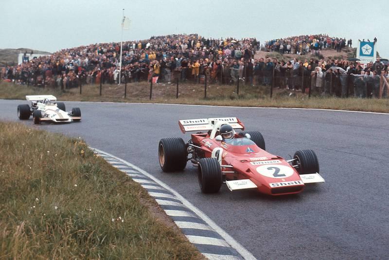 Pedro Rodriguez (BRM) follows Jacky Ickx (Ferrari) at the 1971 Dutch Grand Prix.
