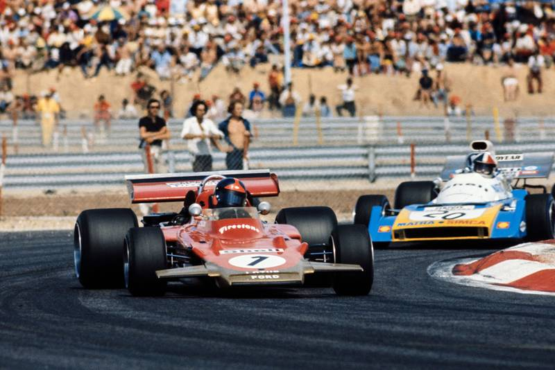 Emerson Fittipaldi oversteers at the 1971 French Grand Prix.