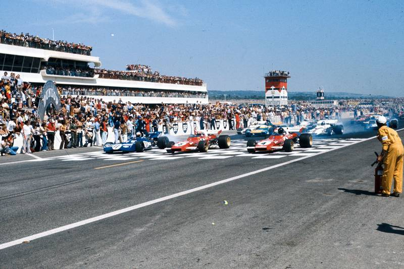 The cars line up on the grid at the 1971 French Grand Prix.
