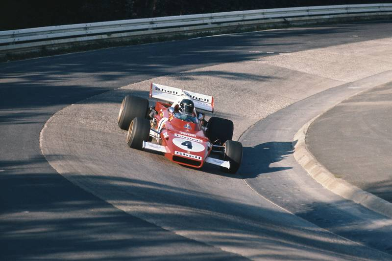 Jacky Ickx takes his Ferrari though the Karussell.