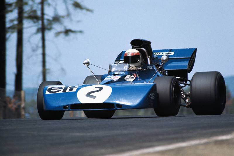 Jackie Stewart takes off through the Flugplatz on his way to winning the 1971 German Grand Prix.